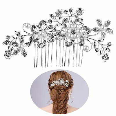 FENICAL Bridal Hair Pieces Tiara Hair Pins Womens Crystal Rhinestones Pearls