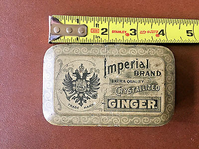 Old Vintage IMPERIAL BRAND Crystallized Ginger Tin Collectible Container 4 x 2