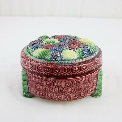 Antique Covered Majolica Box Raspberry Round Lidded English Colorful Pottery
