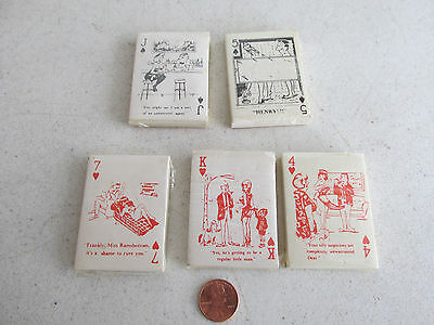 5 vintage matchbook mini risque comic strip playing cards unused mint nude