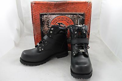 """Milwaukee Leather Men's 6"""" Side Buckle Motorcycle Boots,Black,Size 10,New/NIB"""