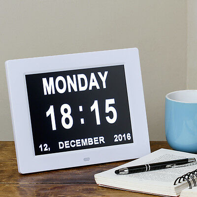 Simple Day & Date Clock With Day Orientation Reminder Easy To See Dementia Clock