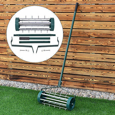 Lawn Aerator Roller With Handle Adjustable Reach Grass Lawn Clean Patio Outdoor