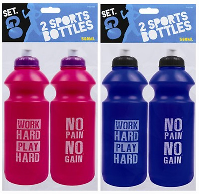 2 x Sports Drinking Bottles Pink Blue Hydration Gym Running Cycling Hiking Drink