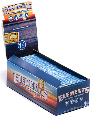 Full Box 25x Packs ( Elements 1.5 1 1/2 ) Ultra Thin Rice Rolling Paper Papers