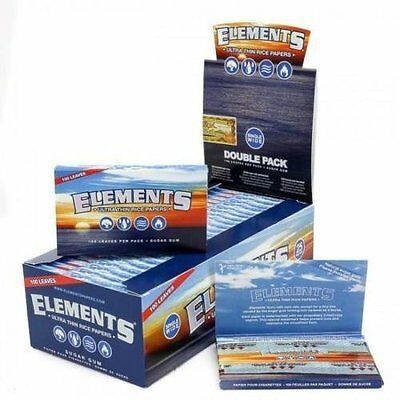 3x Packs ( Elements 1.0 Single Wide Double Pack ) Ultra Thin Rice Rolling Papers