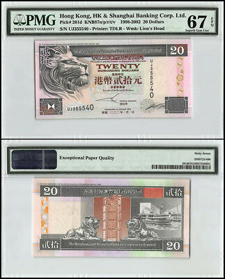 Hong Kong 20 Dollars, 1998-2002, P-201d, UNC, Lion's Head, PMG 67 EPQ