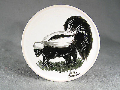 hand painted SKUNK Coaster signed by Chris Scheidler, Millersburg PA