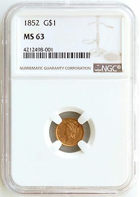 1852 G$1 Gold Dollar  Ngc  Ms63