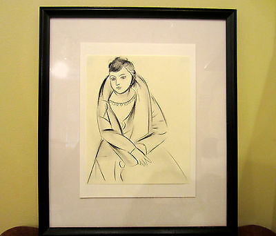 Fauvism Portrait of Woman - Charcoal Drawing on Original Paper - Signed, Cubism