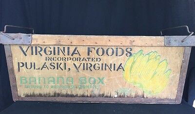 Large Banana Box Virginia Foods Wood Steel Nesting Chicago Mill Crate Storage