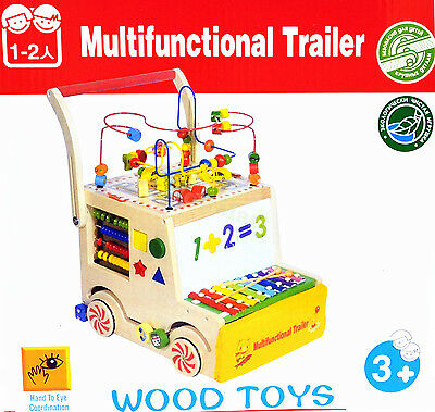 Baby Gift Educational Toy Wooden Truck Bead Maze Activity Toddler Walker #0923