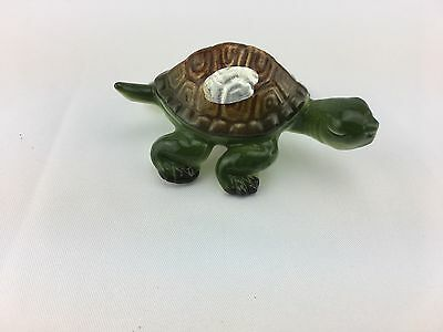 Small Vintage Ceramic Green and Brown Turtle Figurine