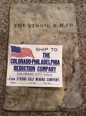 Rare 1890's Cripple Creek Colorado Canvas Gold Ore Sack Strong Mining Co Miners