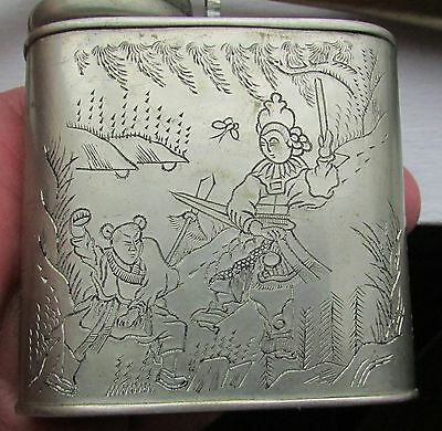 Antique Chinese Water Smoking Pipe Engraved Warriors Fighting -w- Calligraphy !