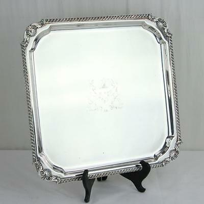 F B Rogers Silverplate Square Drinks Tray Major Ab Adversis Coat of Arms Footed