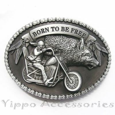 Born To Be Free Biker Motorcycle Wolf Metal Belt Buckle