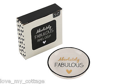 Absolutely Fabulous Ceramic Jewellery Ring Dish Gold Heart Trinket Gift Boxed