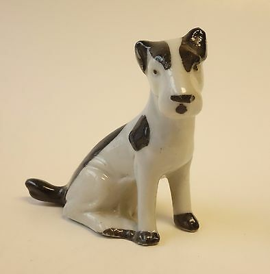 "Vintage Dog Figurine Signed ""Germany Black & White Terrier Ceramic Figure GERMAN"