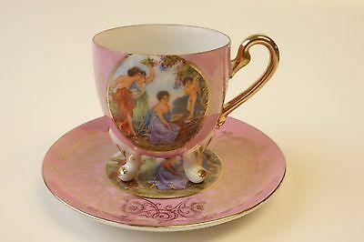 ROYAL HALSEY Cup and Saucer PINK OPALESCENT CHERUBS MAIDENS PORTRAIT Footed