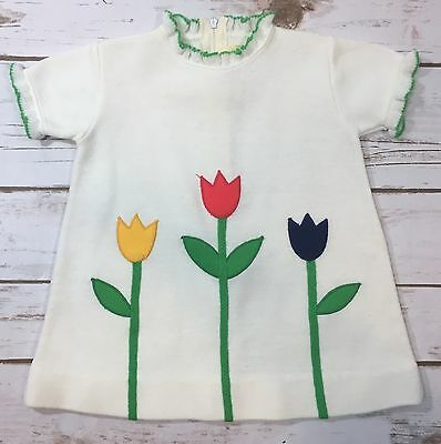 Vintage 70s Baby Girl White Knit Mod Tulip Shift Dress Short Sleeve 12 Months