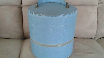 Vintage Travins Hat Wig Box Case Storage Blue
