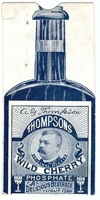 1880 Trade Card Thompson's Wild Cherry Cure Bottle Hygeia Phosphate