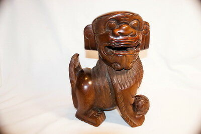 Original 18Th Century Chinese Foo Dragon Dog Wood Carved Figure