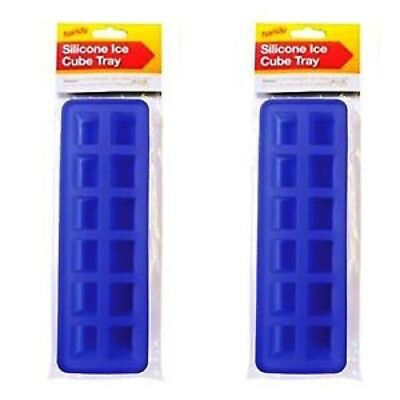 2 x Silicone Soft Splash Ice Cube Tray Flexible Jelly Mould Trays Red & Blue