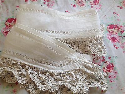 PAIR OF ANTIQUE FRENCH CURTAIN TIE-BACKS  - THREADWORK & LACE - HANDMADE -19th