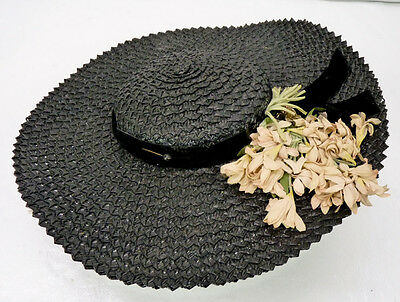 Vintage 40s Wide Brim Black Straw Hat Velvet Ribbon/Bow & Pink Flowers