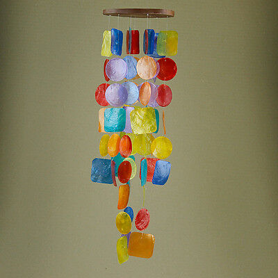 Large Rainbow Shell Wooden Base Spiral Mobile Waterfall Wind-Chime 65cm Hanging