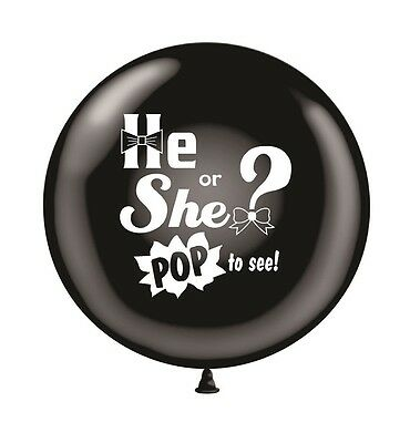 """Gender Reveal Balloon- Black Big Balloon 36"""" He or She Pop to See Print"""