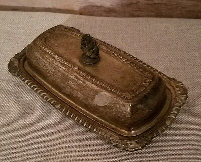 Vintage silver plate butter dish with glass insert
