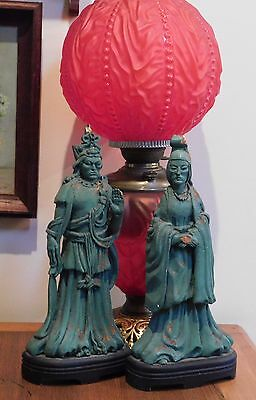 Antique Chinese Immortals Emperor & Empress Chip Carved Wood Sculpture Figures