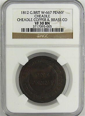 Great Britain 1812 Cheadle Penny Token, W-667, Ngc Vf30Bn