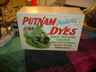 Putnam Fadeless Dyes Tints cabinet country general store display - 1940S