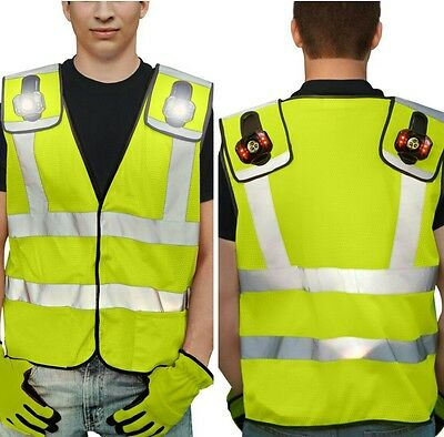 HIGH VISIBILITY REFLECTIVE SAFETY VEST with Removable LED Lights GREEN