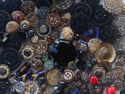 Victorian Metal Glass Button Buttons Lot Picture Luster Saphiret +