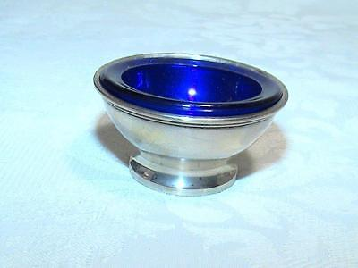 Sterling Silver 925/1000 Salt Cellar w/Cobalt Blue Liner S Kirk and Son 4104