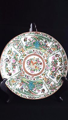 Beautiful Antique Chinese Famille Rose Porcelain Plate Dish Floral Decorations