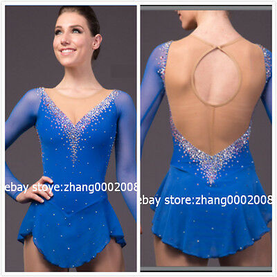 Ice skating dress. blue Competition Figure Skating dress. Baton Twirling custome