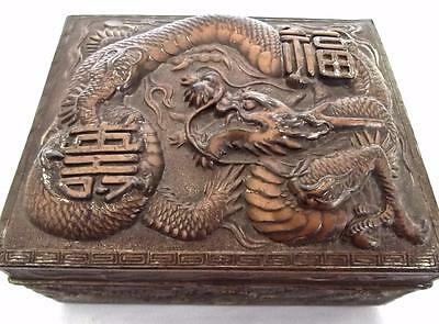 Vintage Copper Trinket Box Deep Repousse Dragon & Characters Made in Japan