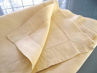 Vintage Primrose Yellow Irish Plain Linen 50x67 Easter Hemstitched Tablecloth