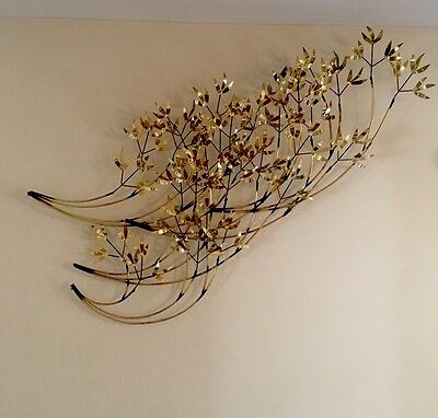 "47"" Brutalist MCM Brass Curtis Jere Bamboo Branches Wall Art Hanging Sculpture"