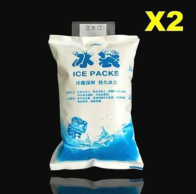 2PCs 200ML Reusable Gel Ice Bags Packs Freeze Pak Picnic Cooler Cold Therapy ♫