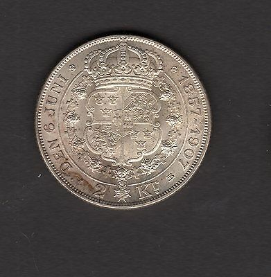Sweden 1907 2 Kronor AU Silver Coin - Nice Coin!