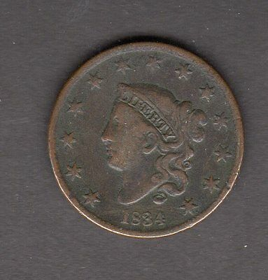 US 1834 Coronet Head Large Cent Penny Coin in F+ Fine Condition
