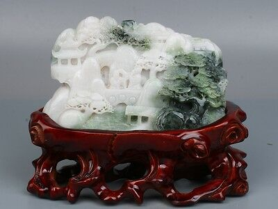 China Exquisite hand-carved Natural Dushan jade old man Panasonic friends statue