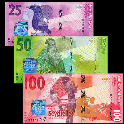 Seychelles Set 3 PCS, 25 50 100 Rupees, 2016, P-NEW, NEW DESIGN, Bird, UNC